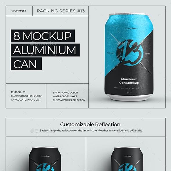 8 Mockup Aluminium Can 330 ml With Water Drops