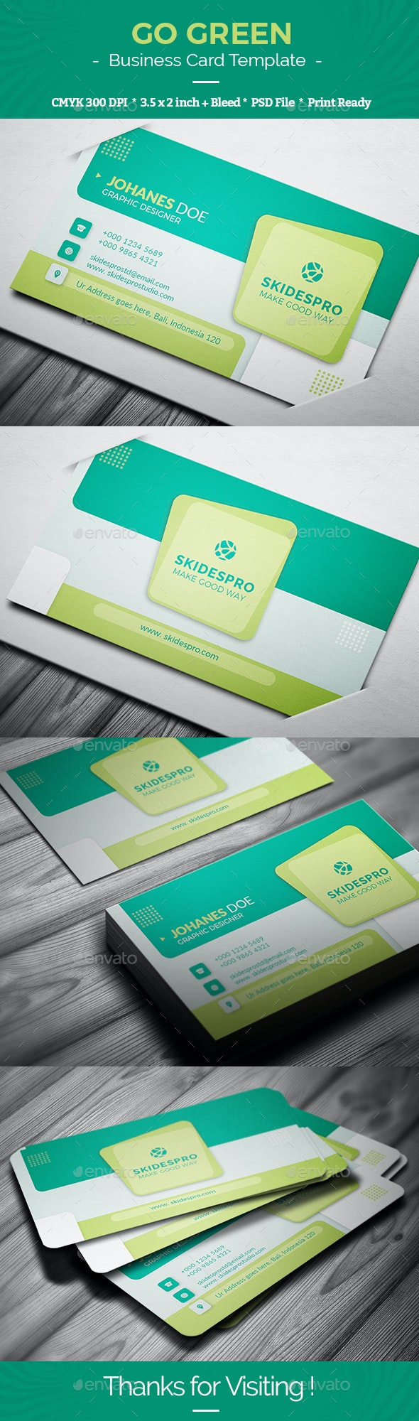Go Green Business Card Template - Business Cards Print Templates