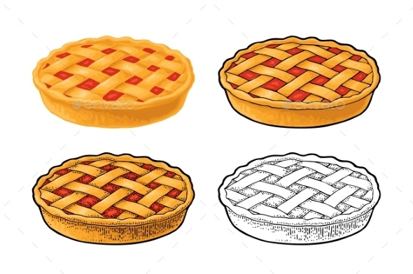Whole Homemade Fruit Pie - Food Objects