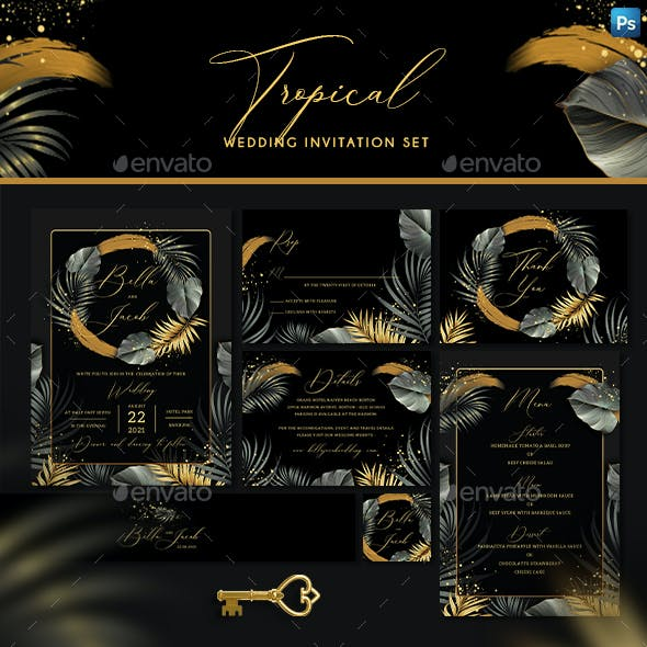 Tropical Wedding Invitation Set