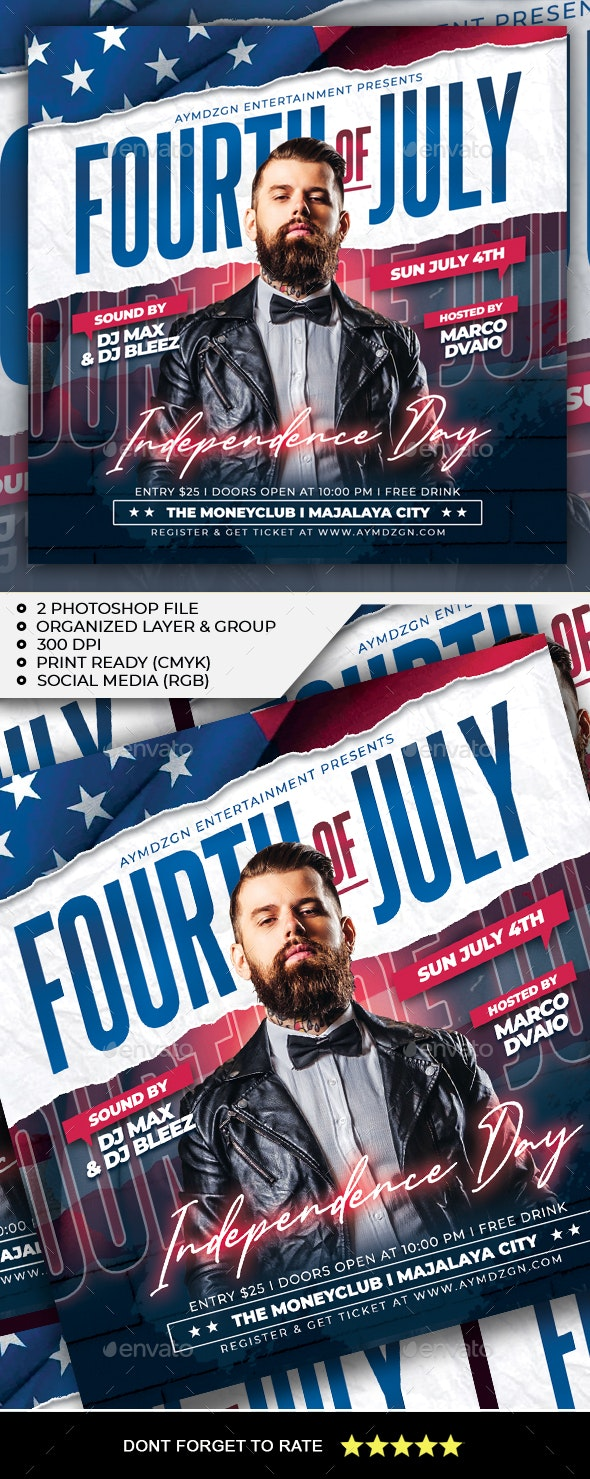 Fourth of July Flyer - Clubs & Parties Events