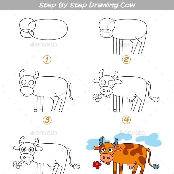 Step By Step Drawing Cow