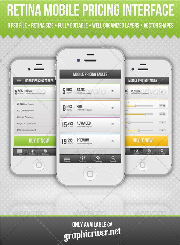 Retina Mobile Pricing Interface - User Interfaces Web Elements