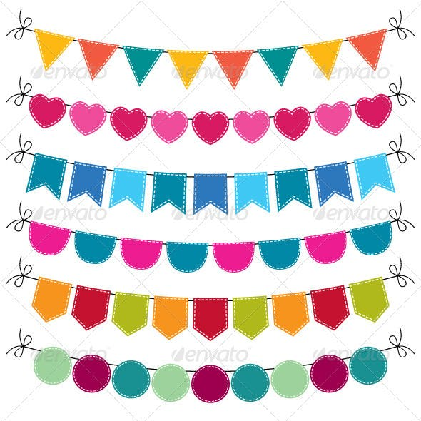 Cute vector bunting set.