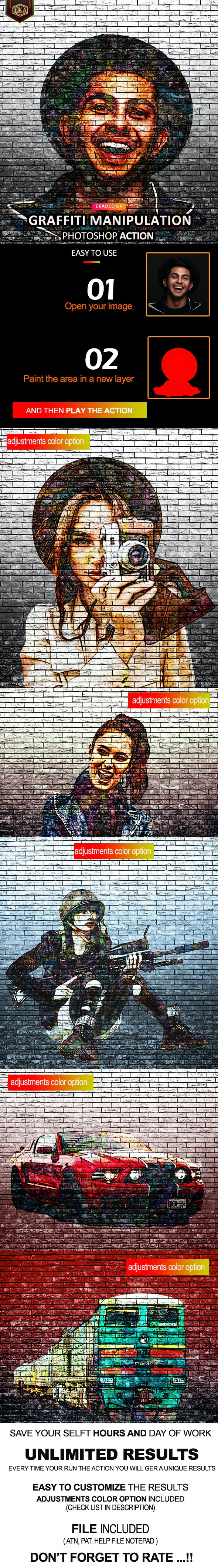 Graffiti Manipulation Photoshop Action - Photo Effects Actions