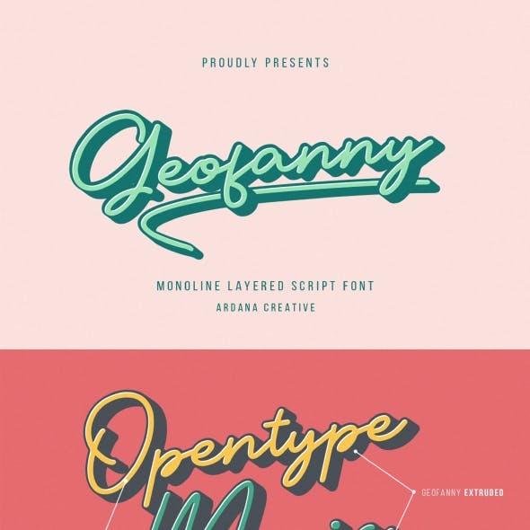 Geofanny   Monoline Layered Script Font
