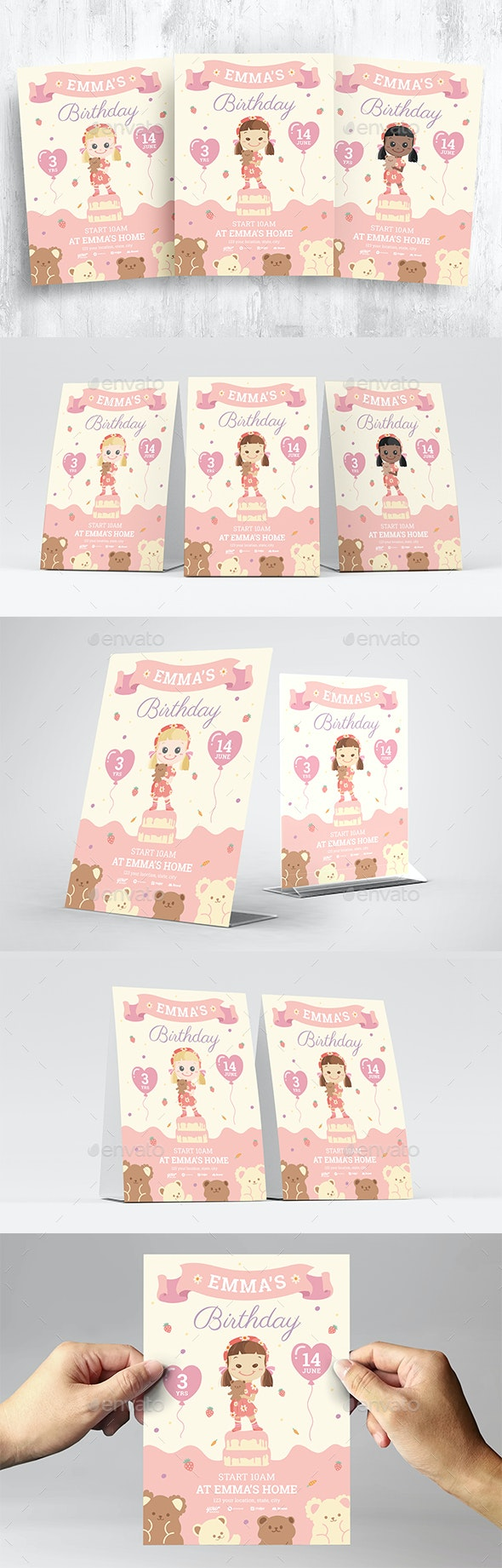 Girls Birthday Invitation Flyer - Flyers Print Templates