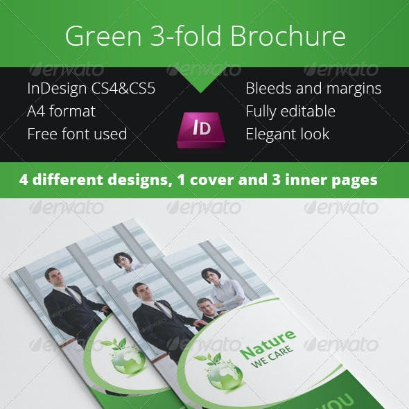 Green Eco Nature 3-fold Brochure InDesign Template