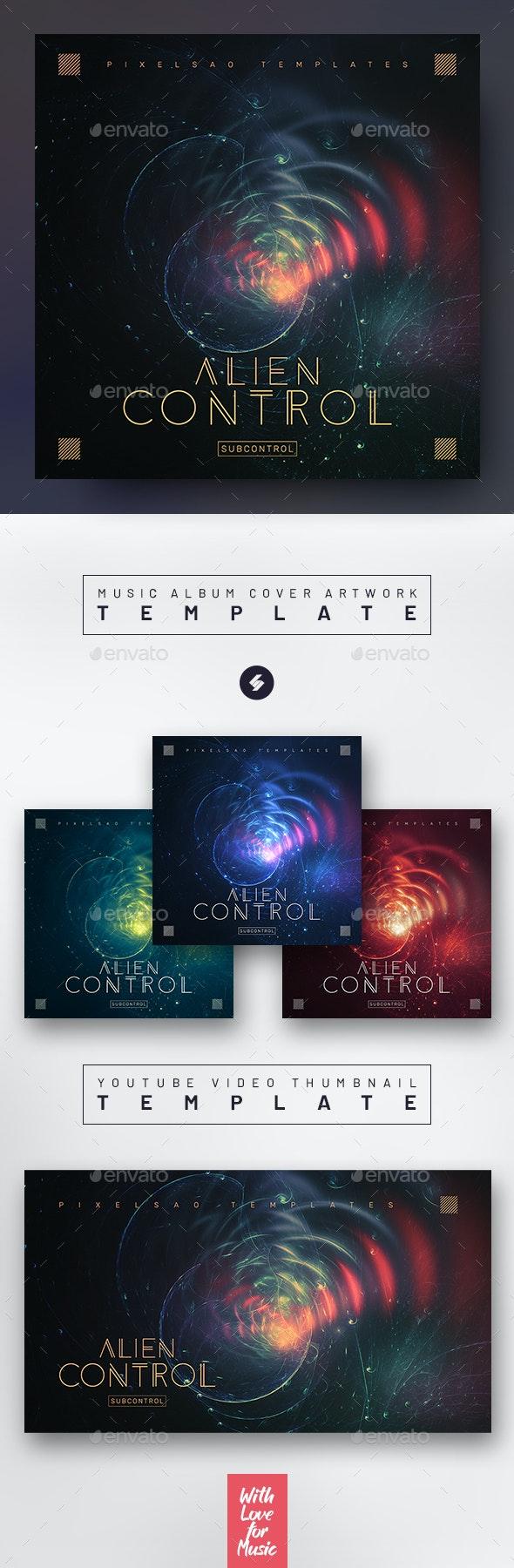 Alien Control – Music Album Cover Artwork / Youtube Thumbnail Template - Miscellaneous Social Media