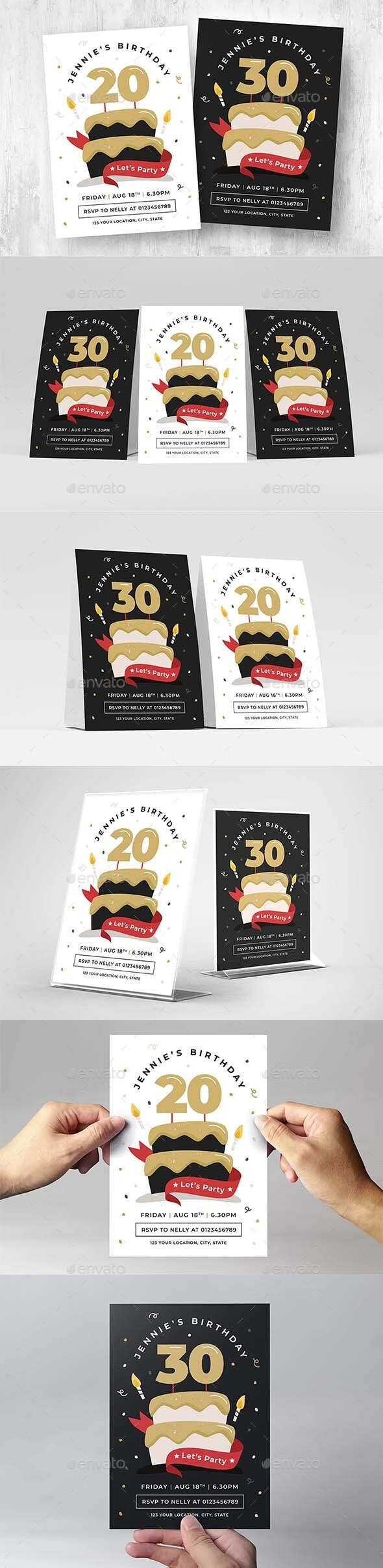 Birthday Party Invitation with Cake - Flyers Print Templates