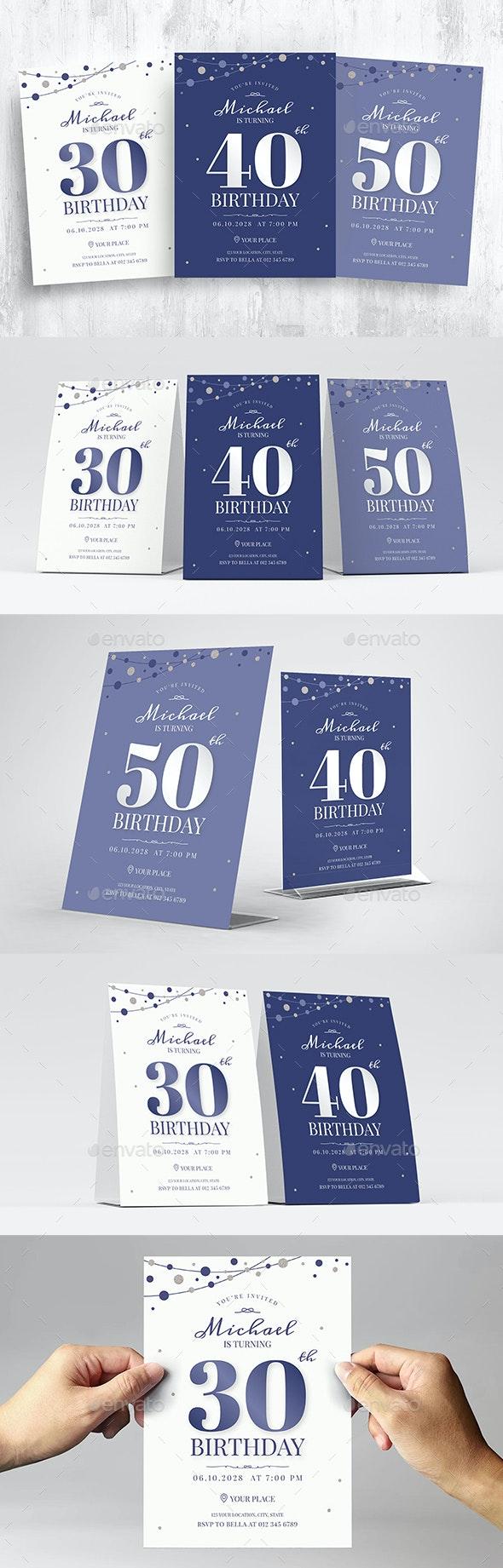 Birthday Invitation with Confetti - Flyers Print Templates