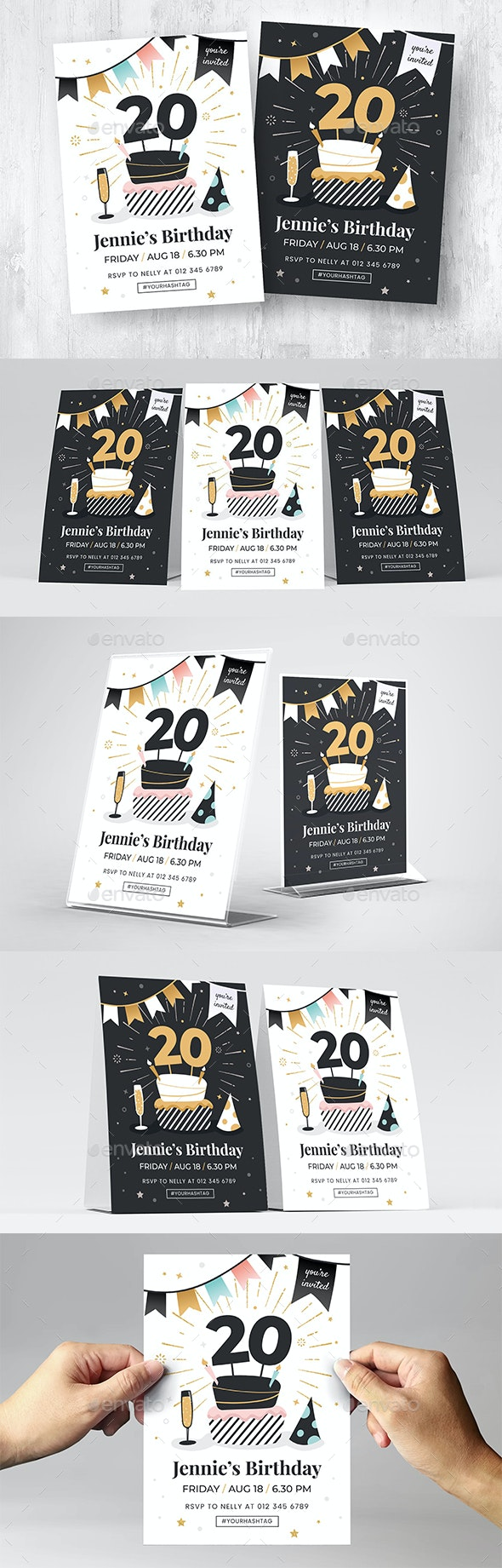 Birthday Invitation Flyer with Cake and Champagne - Flyers Print Templates