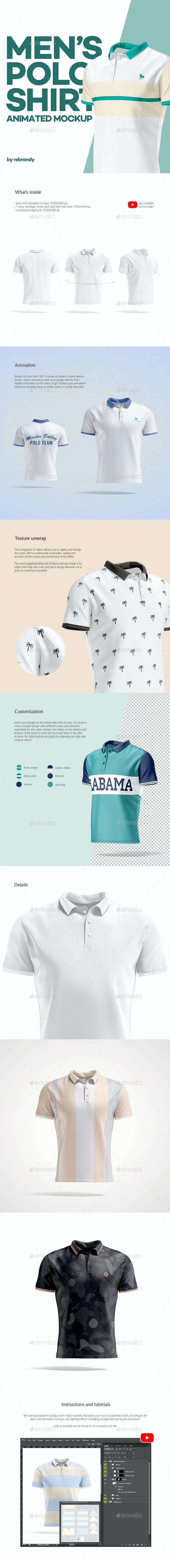 Men's Polo Shirt Animated Mockup - Product Mock-Ups Graphics