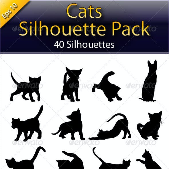 Cats Silhouette Big Pack