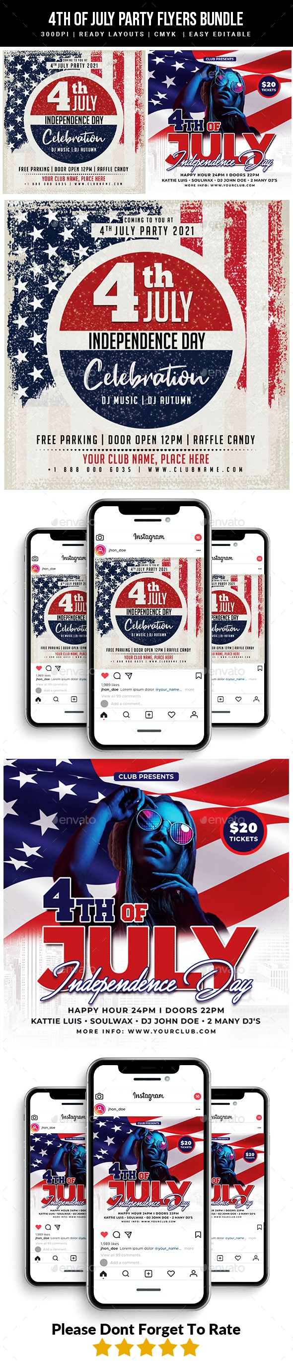 4th of July Party Flyers bundle - Events Flyers