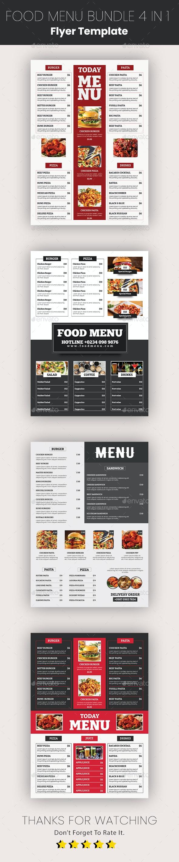 Food Menu Template Bundle 4 in 1 - Food Menus Print Templates