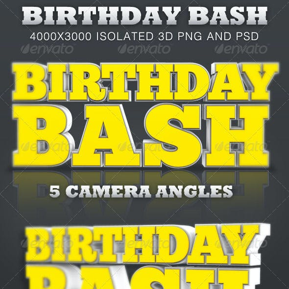 Birthday Bash Isolated 3D Text Objects