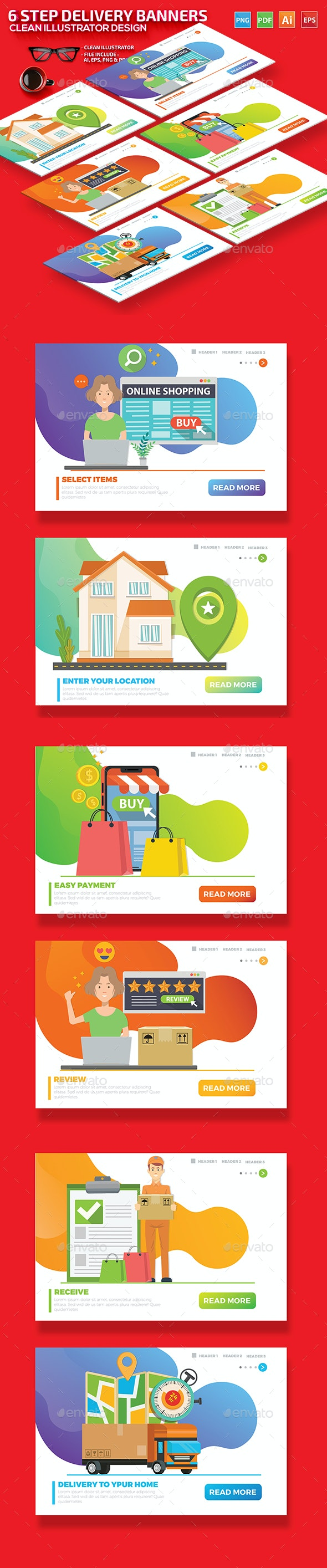 6 Step Delivery Banners design - Graphics