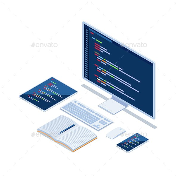 Isometric Computer Code on Monitor Smartphone and Tablet Developing Cross Platform Website