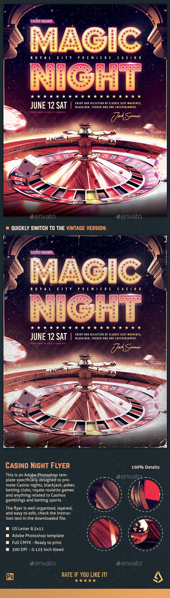 Casino Night Flyer Roulette Royale Template - Miscellaneous Events