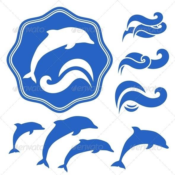 Dolphins silhouettes - Decorative Symbols Decorative