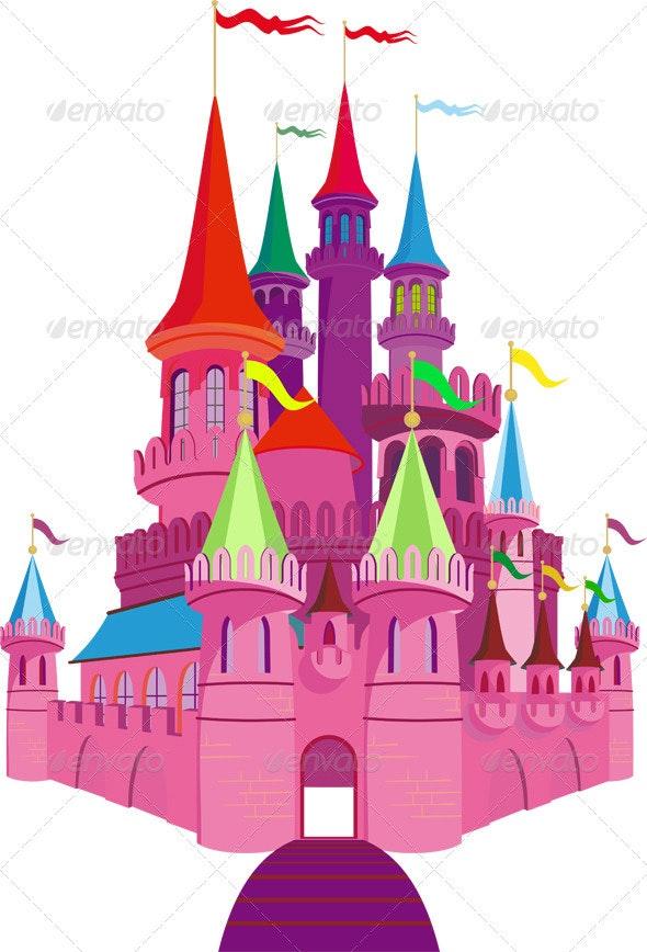 Fairy-tale Pink Castle - Buildings Objects