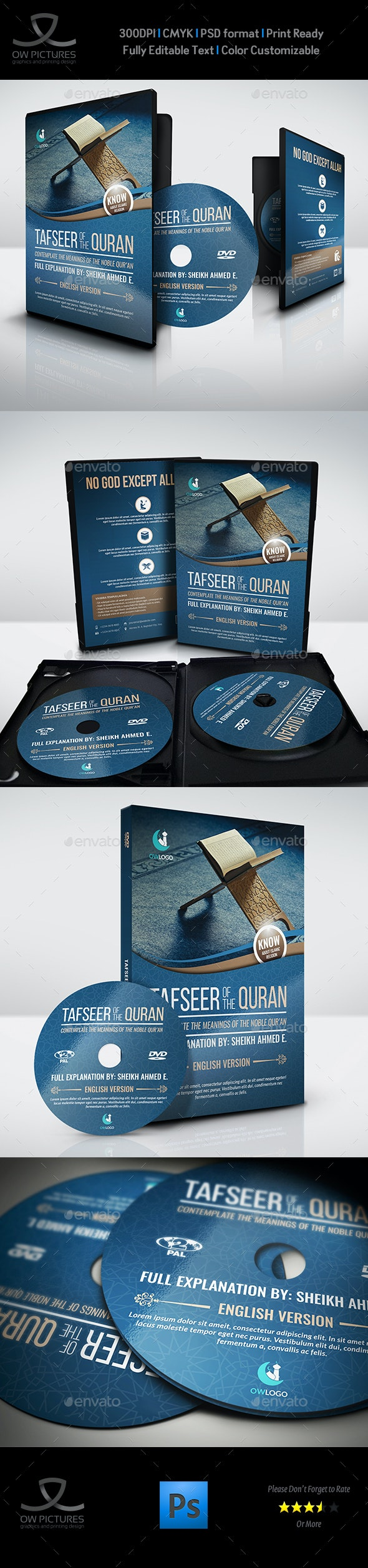 Islamic DVD Cover and Label Template Vol.2 - CD & DVD Artwork Print Templates