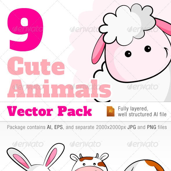 9 Cute Animals Vector Pack