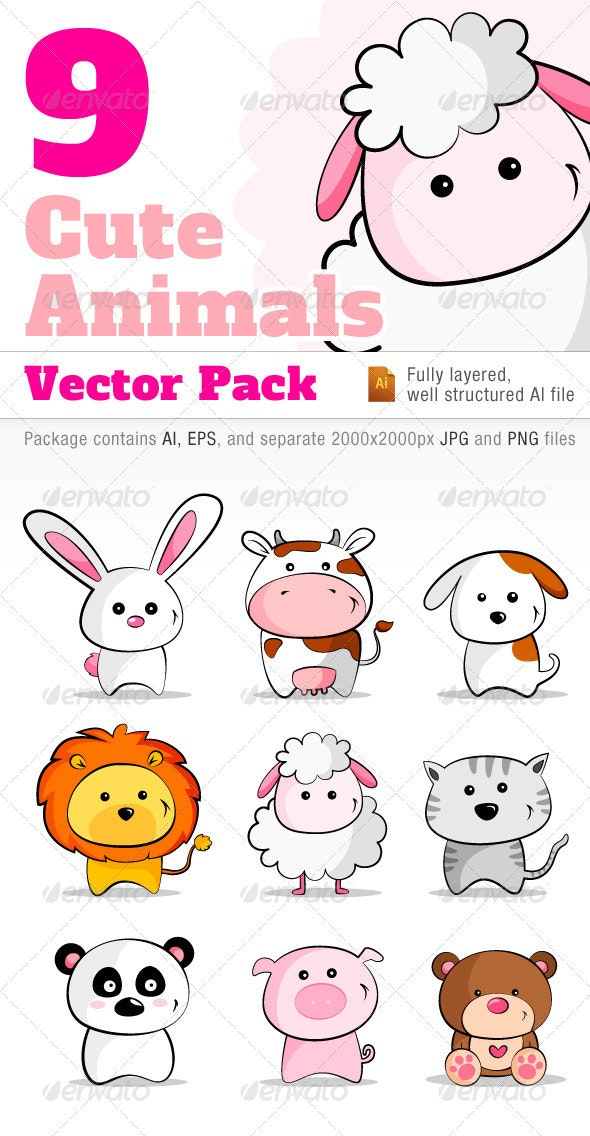 9 Cute Animals Vector Pack - Animals Characters