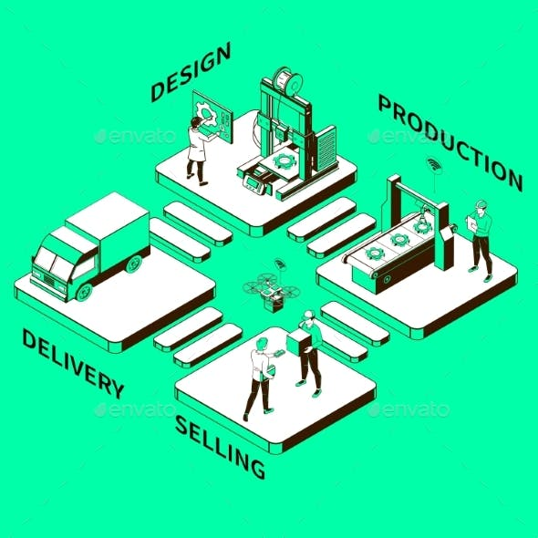 Smart Industry Monochrome Isometric Composition