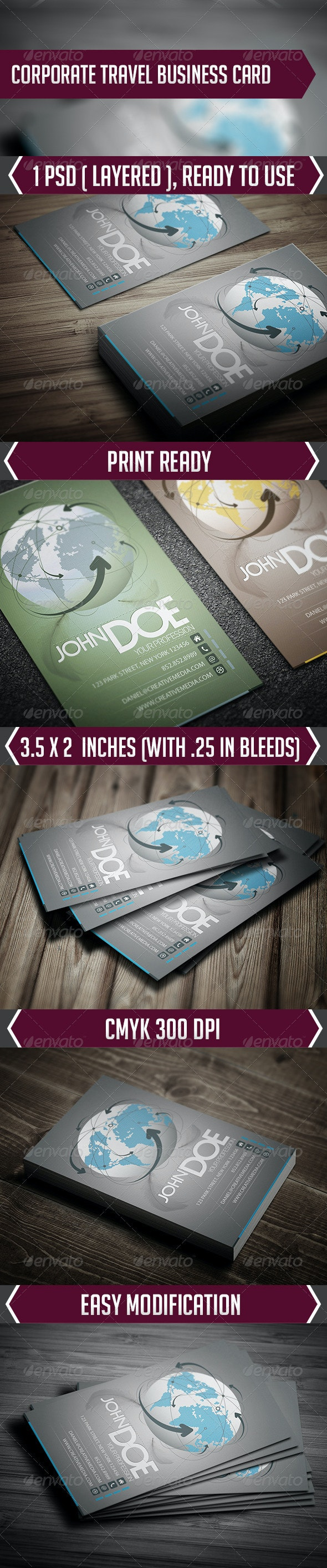 Corporate Travel Business Card - Creative Business Cards