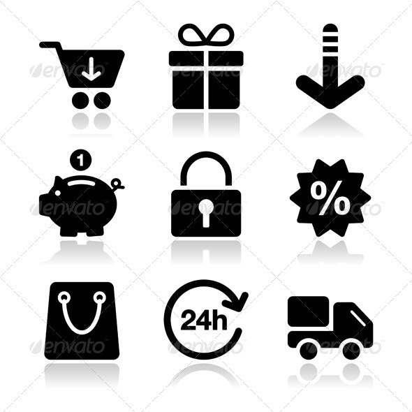 Shopping on internet black icons set with shadow - Web Elements Vectors