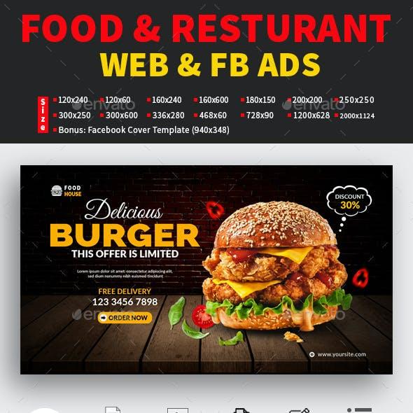Food & Restaurant WEB, FB ADS & Facebook Cover