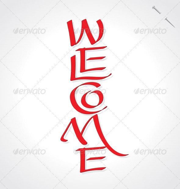 'Welcome' Hand Lettering (vector) - Vectors