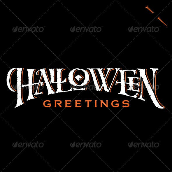 'Halloween Greetings' Hand Lettering (vector)