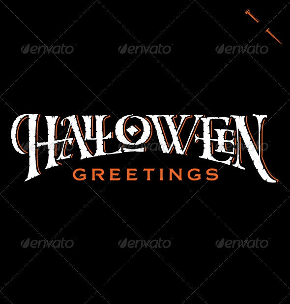 'Halloween Greetings' Hand Lettering (vector) - Halloween Seasons/Holidays