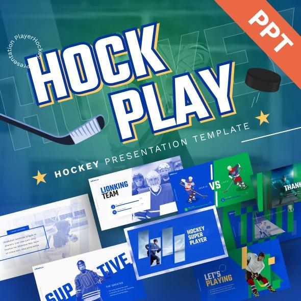 Hockplay Hockey Creative PowerPoint Template - PowerPoint Templates Presentation Templates