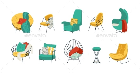 Cartoon Armchairs - Objects Vectors