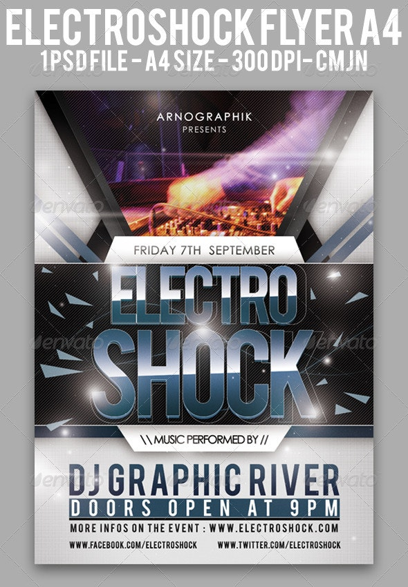 Electroshock Flyer A4 - Clubs & Parties Events