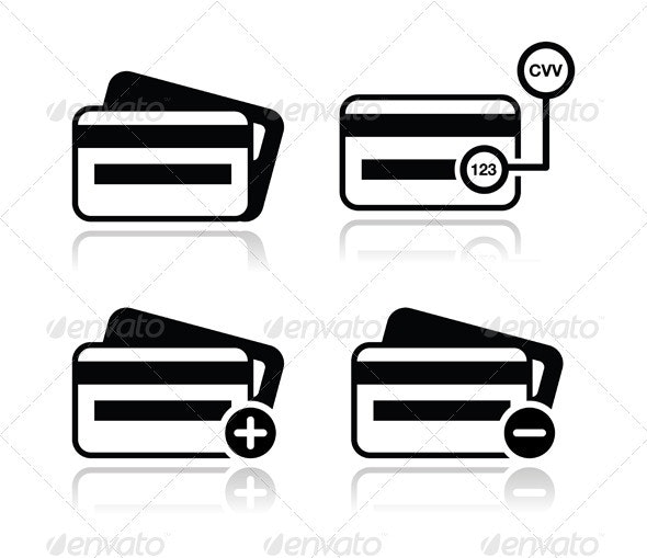 Credit Card, CVV code black icons set with shadow - Web Elements Vectors
