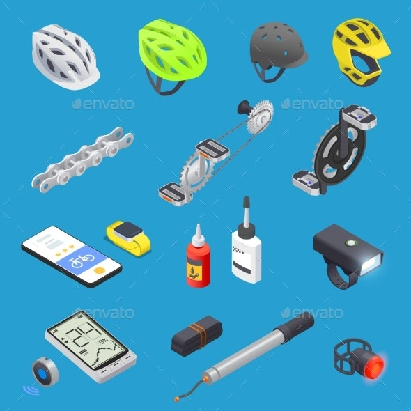 Cycling Equipment Icon Set - Activities & Leisure Isolated Objects