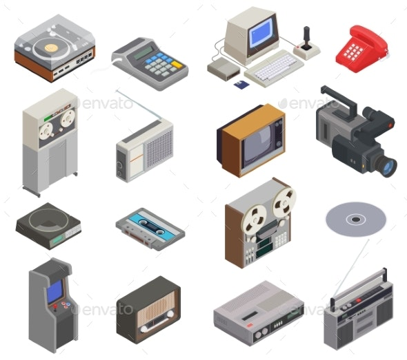 Retro Devices Icon Set - Technology Isolated Objects