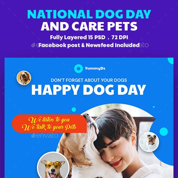 National Dog Day and Care Pets Banners Ad