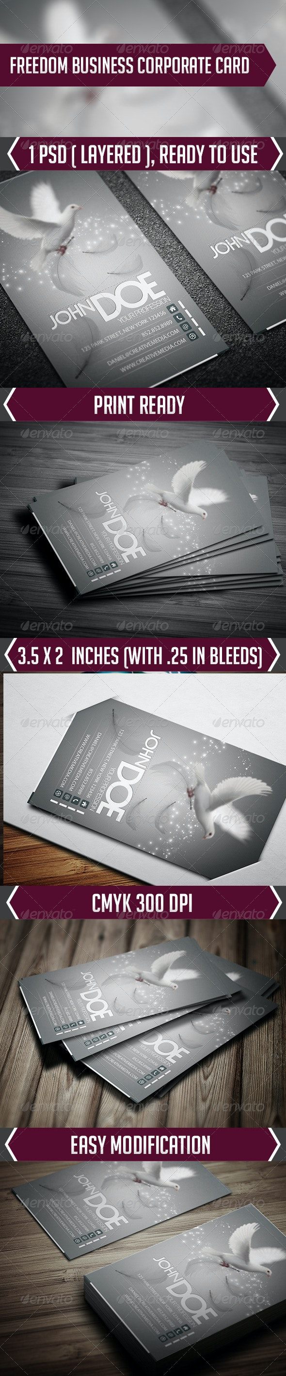 Freedom Business Corporate Card - Creative Business Cards