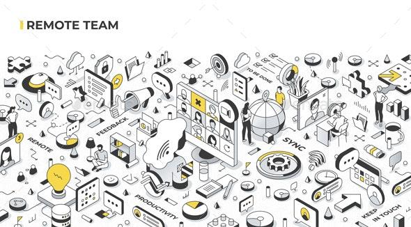 Remote Team Isometric Illustration - Communications Technology