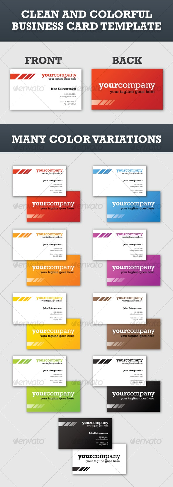 Clean and Colorful Business Card Template - Creative Business Cards