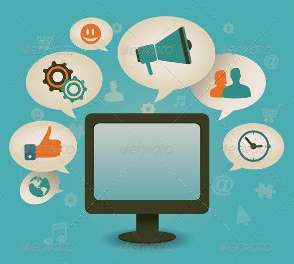 Vintage concept of social media - Technology Conceptual