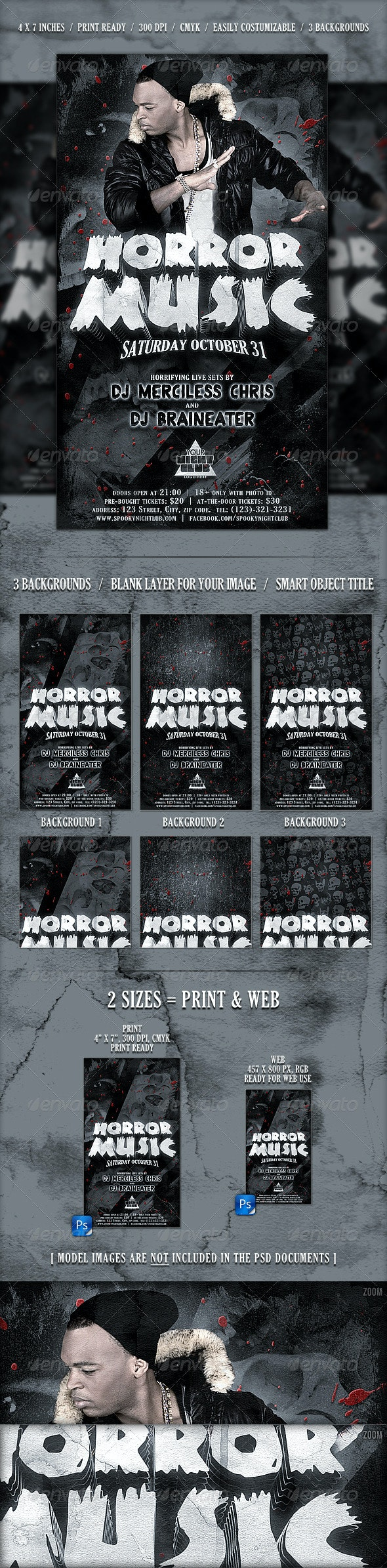 Horror Flyer // 3 Background Versions - Clubs & Parties Events