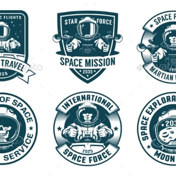 Astronaut Badge Set in Vintage Style