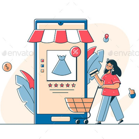 Woman Shopping Online on Smartphone App